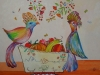 Birds with fruit bowl